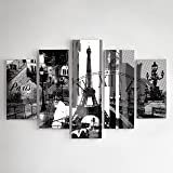 Picture multi split panel canvas artwork art eiffel for What kind of paint to use on kitchen cabinets for ready to hang canvas wall art