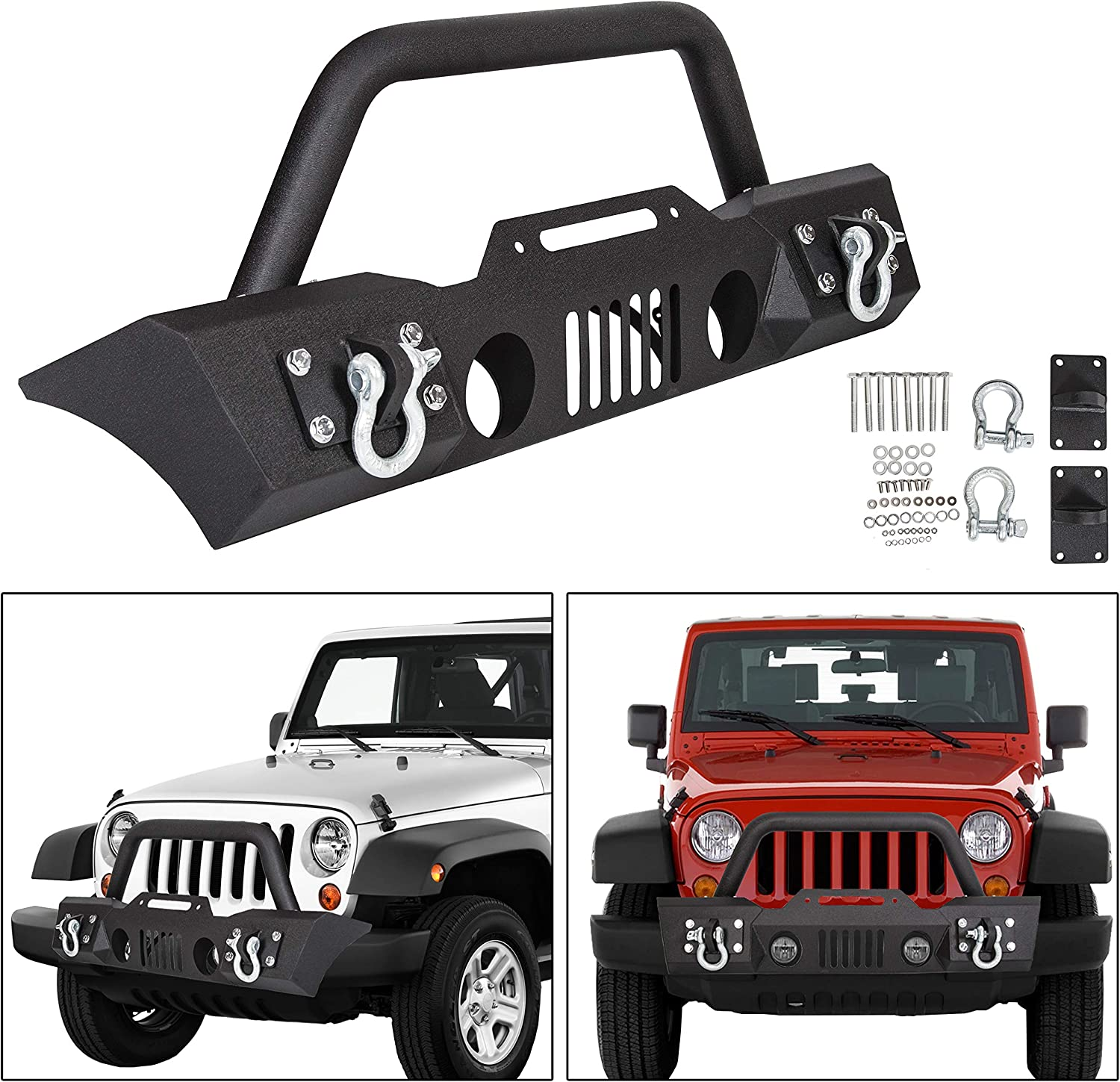 ECOTRIC Stubby Front Bumper with Fog Light Housing for 07-17 Jeep Wrangler JK