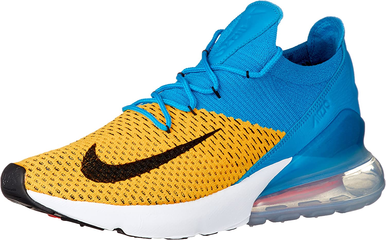 Amazon Com Nike Mens Air Max 270 Flyknit Laser Orange Blue