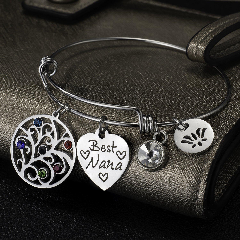 Hazado Family Tree of Life Expandable Bangle Bracelet for Grandma Mom Daughter Birthday Gift for Women Girls