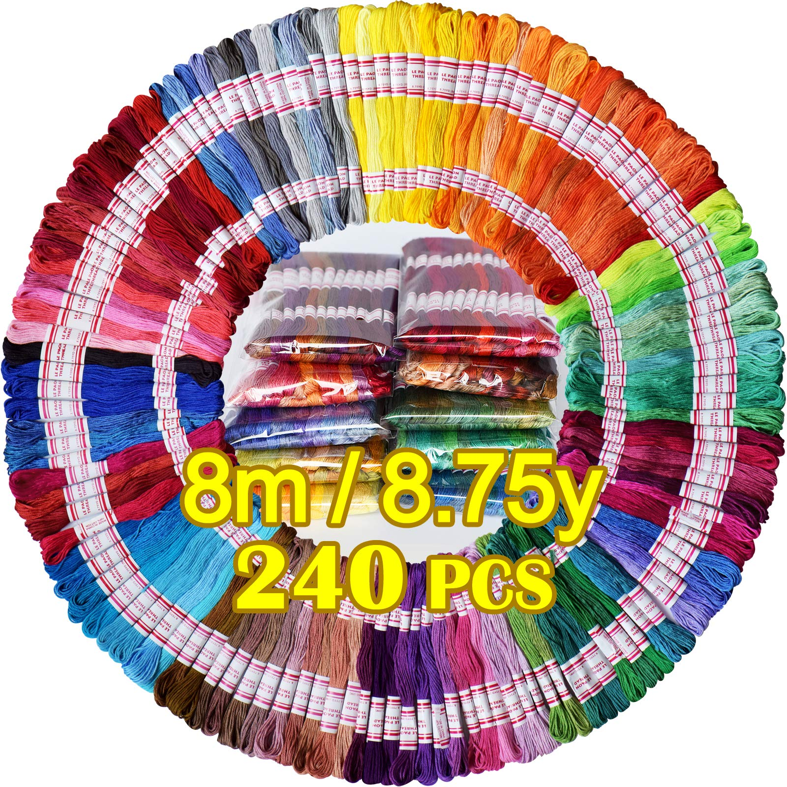 Embroidery Floss 240 skeins 100% Egyptian long-staple cotton Cross Stitch Threads -Friendship Bracelets String -Mercerized Crafts Floss total 1920M 8M/pc 24pcs/bag 10package