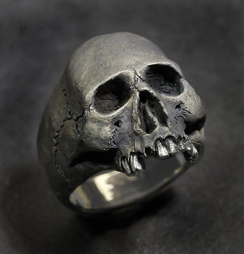 Mens Silver Skull Ring Skull Ring,Half Jaw Jack Sparrow,Biker ring Goth ring,.925 Rocker ring