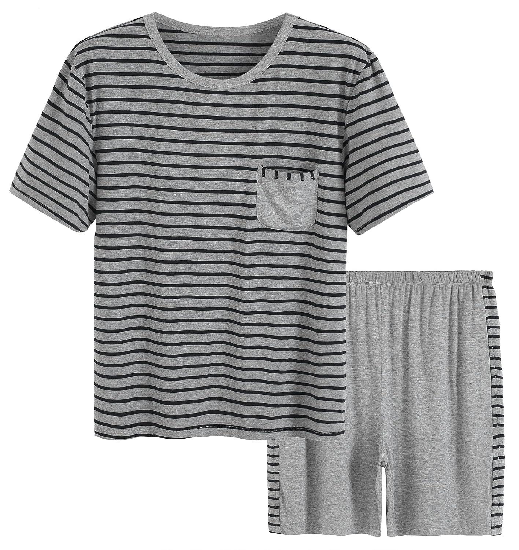 Latuza Men's Summer Sleepwear Striped Design Casual Pajama Set