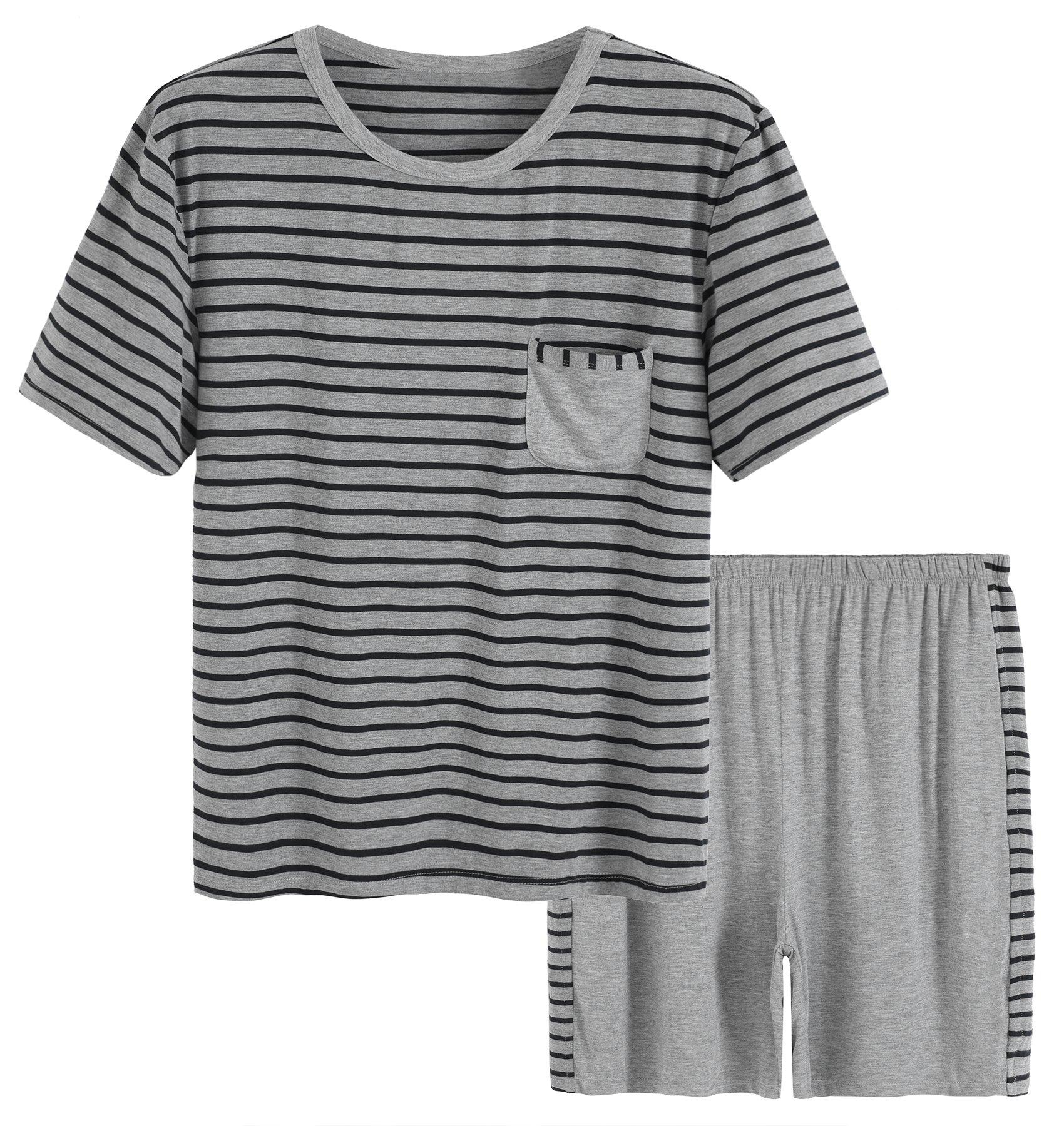 Latuza Men's Summer Sleepwear Striped Design Casual Pajama Set M Black Striped