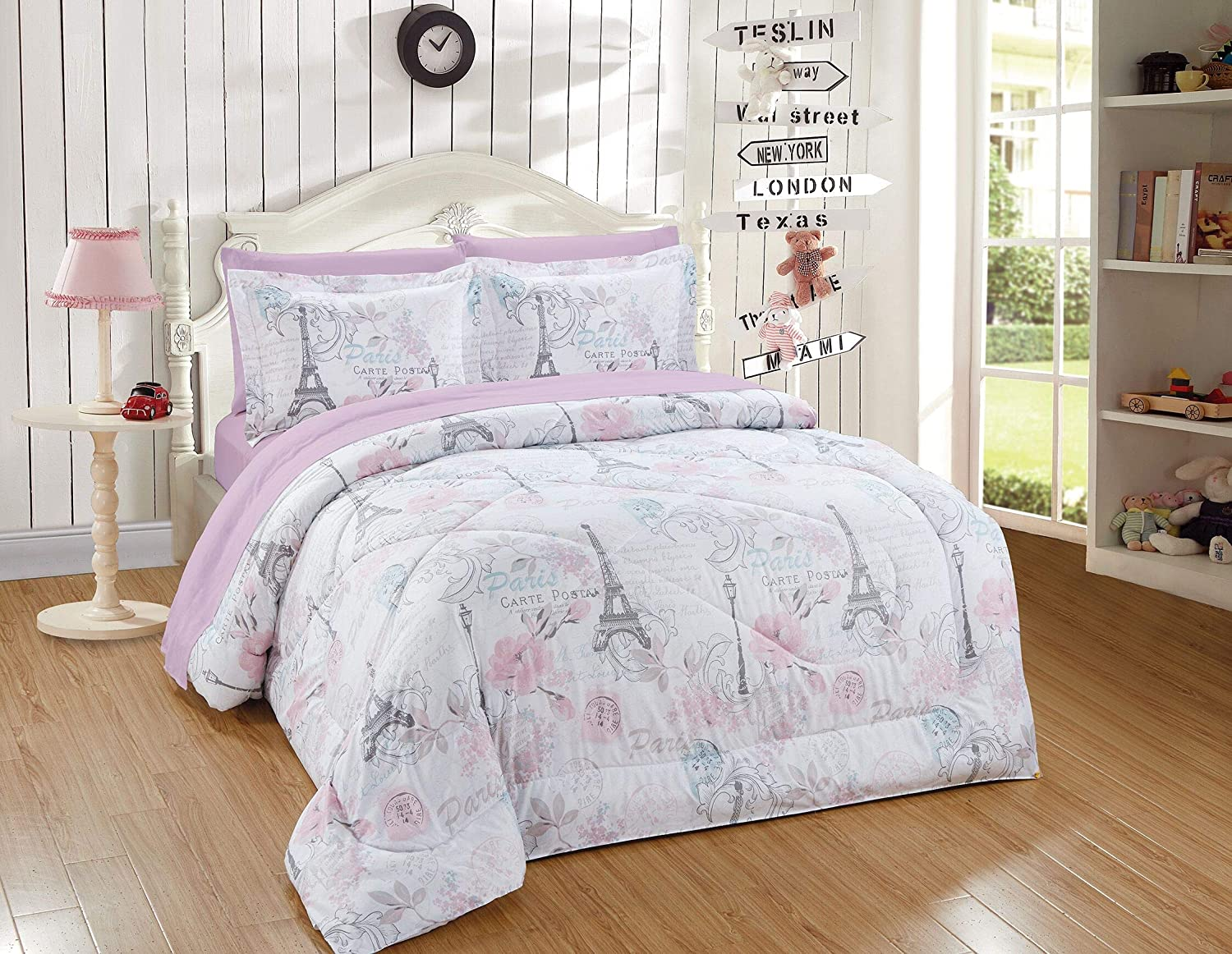 Kids Zone Home Linen 5pc Twin Comforter Set Rose Paris Eiffel Tower Street Light Pink Flower Printed