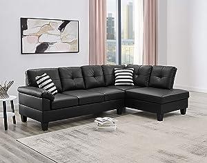 Oadeer Home, us_furniture, OADEF Sofa Chaise White Sofa & Chaise, Black Faux Leather