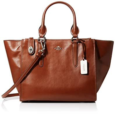 COACH Women s Smooth Leather Crosby Carryall SV Saddle Satchel  Amazon.in   Shoes   Handbags 7aed7804838a9