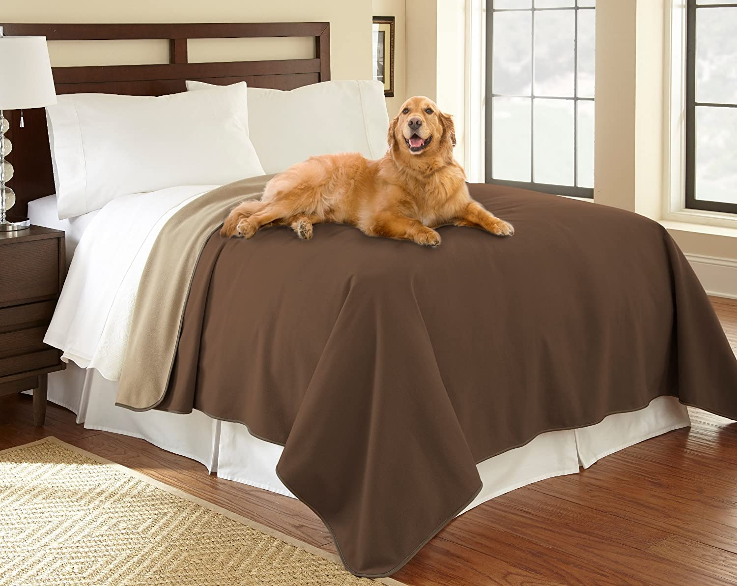 """Mambe 100% Waterproof Furniture Cover for Pets and People (Recliner Throw 70""""x 70"""", Chocolate-Cappuccino) Made in The USA"""