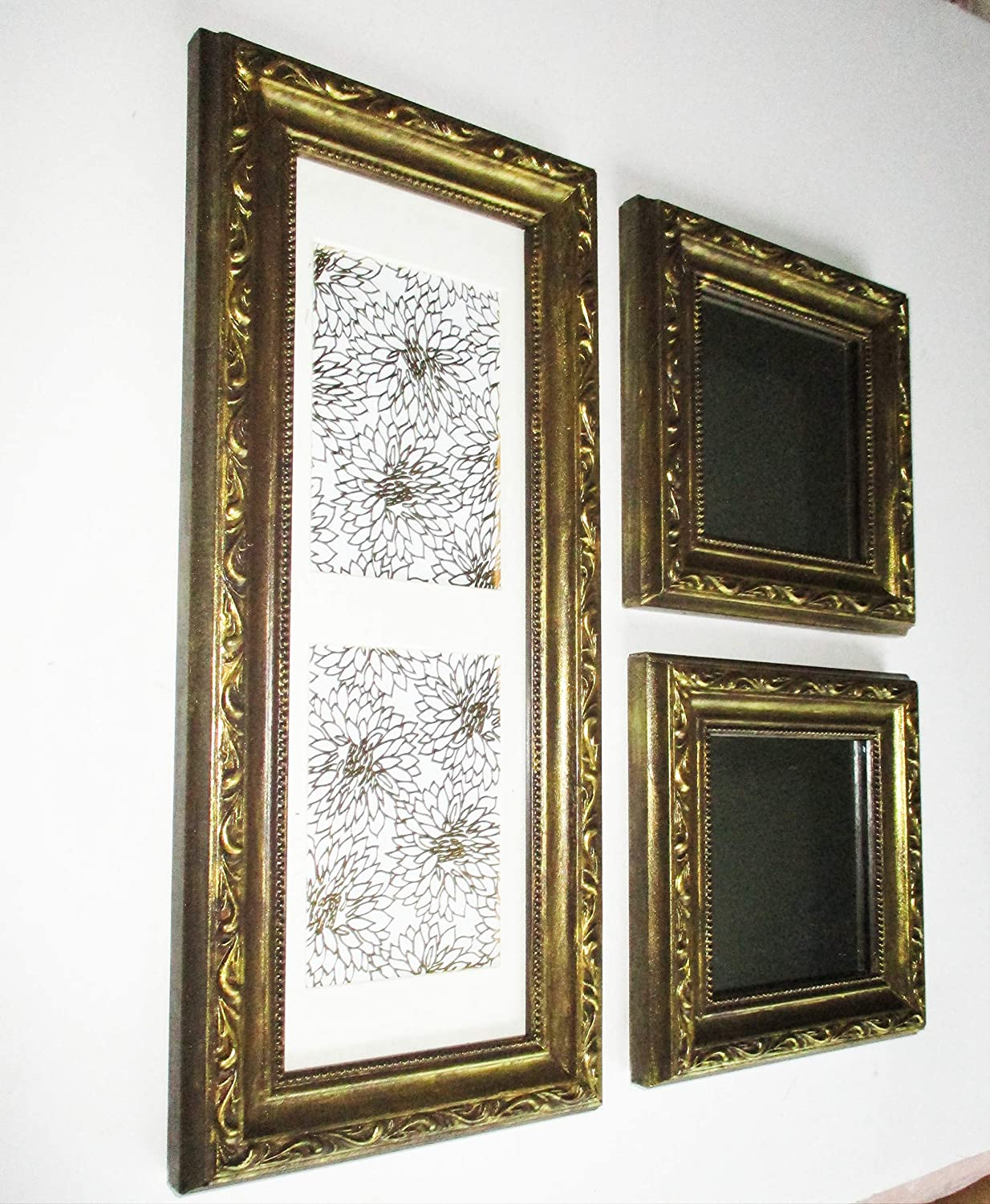 Baroque Gold Mirrors Wall Mirrors and Picture Frame Set, Baroque Design, Upcycled Vintage, Wood,  Wall Decor, Wall Gallery, Mirrors Collection, Mirrors Set, Double Slot  Picture ...