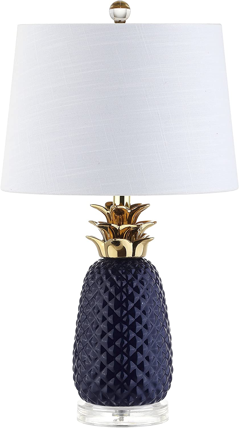 Jonathan Y Jyl4019a Pineapple 23 Ceramic Led Table Lamp Contemporary Transitional For Bedroom Living Room Office College Dorm Coffee Table Bookcase Navy Gold Amazon Com