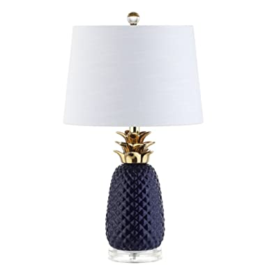 Pineapple 23  Ceramic Table Lamp, Navy/Gold by JONATHAN Y