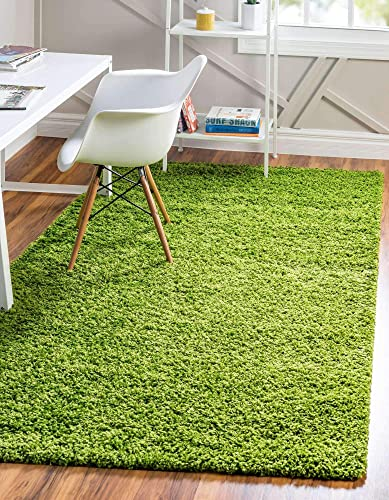 Unique Loom Solo Solid Shag Collection Modern Plush Grass Green Area Rug 8' 0 x 10' 0