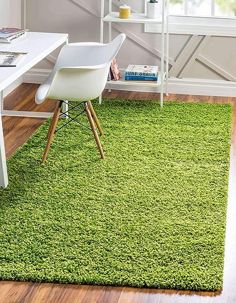 Amazon Com Unique Loom Solo Solid Shag Collection Modern Plush Grass Green Area Rug 8 0 X 10 0 Furniture Decor