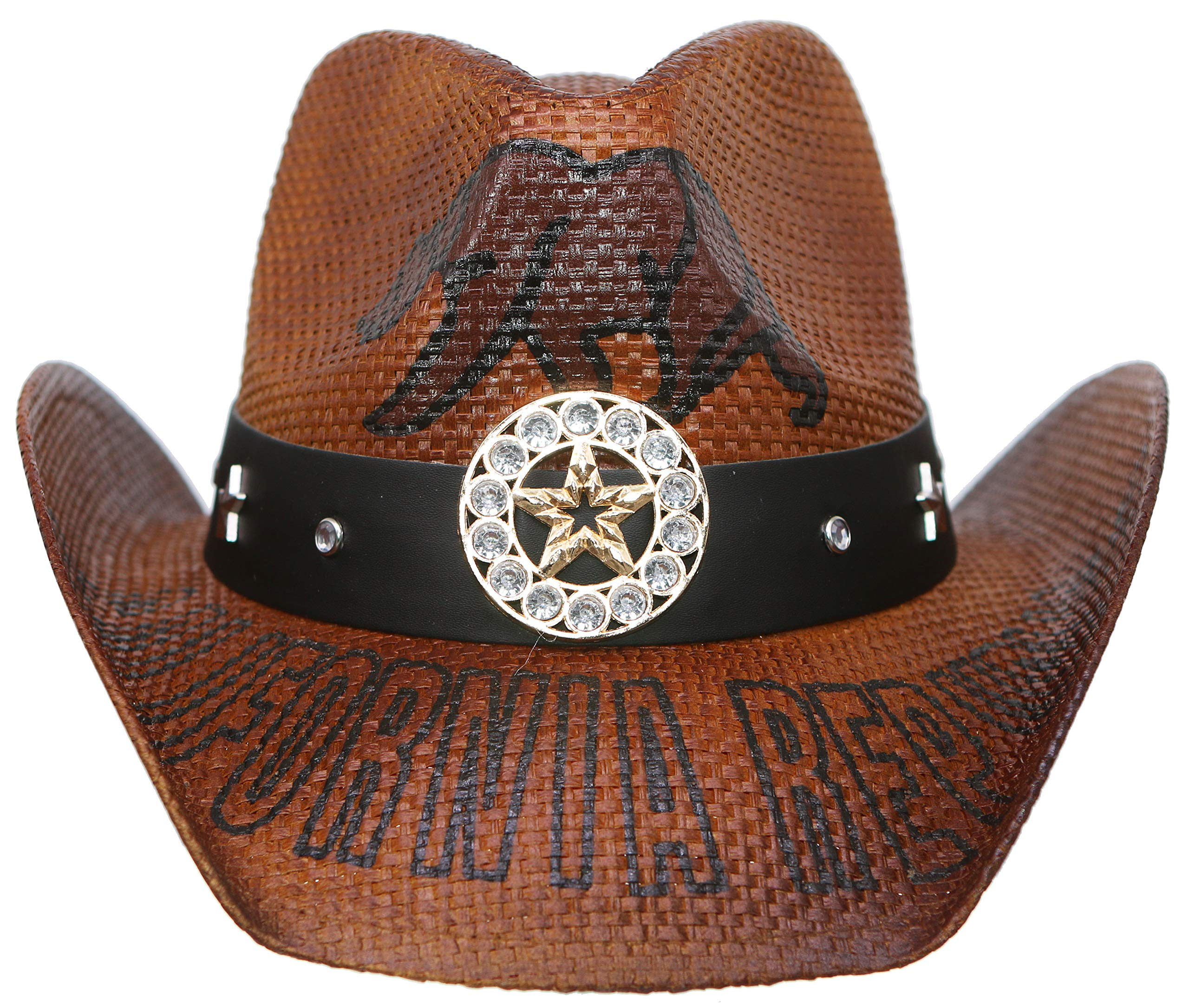 RufnTop Men's & Women's Western Vintage Style Cowboy Cowgirl Straw Hat w Band Décor(Cowboy 1) by RufnTop