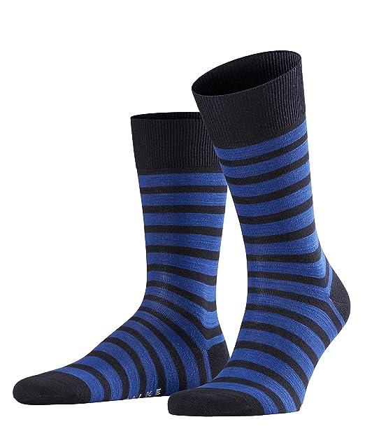 Falke Even Stripe, Calcetines para Hombre, Azul (Dark Navy 6375), 39