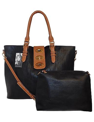 d3e3bb8c04 kathy ireland Black Super Soft Premium Vegan leather Tote Handbag with  Toggle Strap Closure and Mini Bag -2 pc set  Handbags  Amazon.com