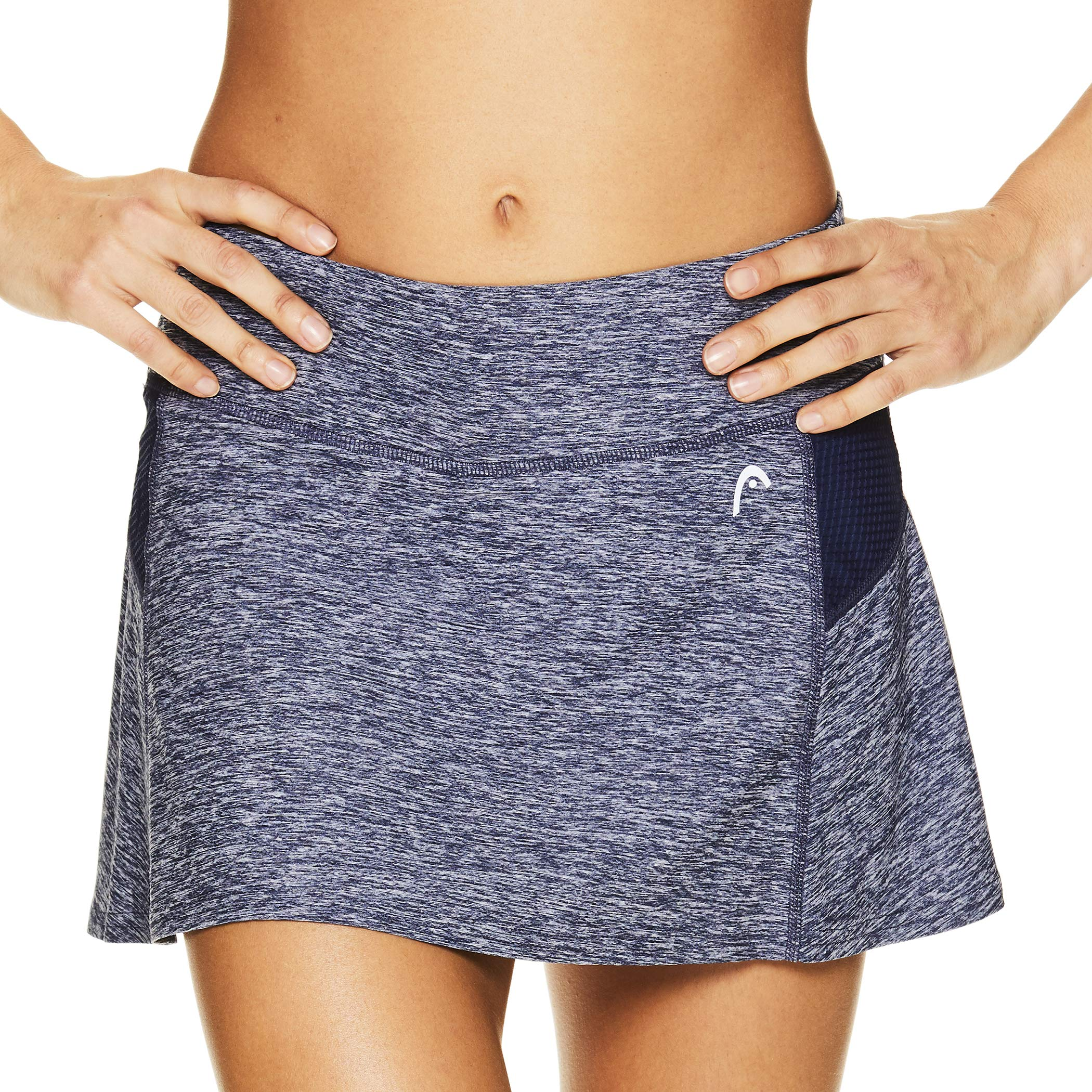 HEAD Women's Athletic Tennis Skort - Performance Training & Running Skirt - Fresh Mesh Medieval Blue Heather, X-Small