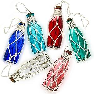 SAILINGSTORY Beach Décor, Glass Beach Ornaments for Christmas Tree, Nautical Christmas Ornaments Glass Bottle Float Fishing Ornaments Nautical Décor Coastal Décor Set of 6 Color Pack