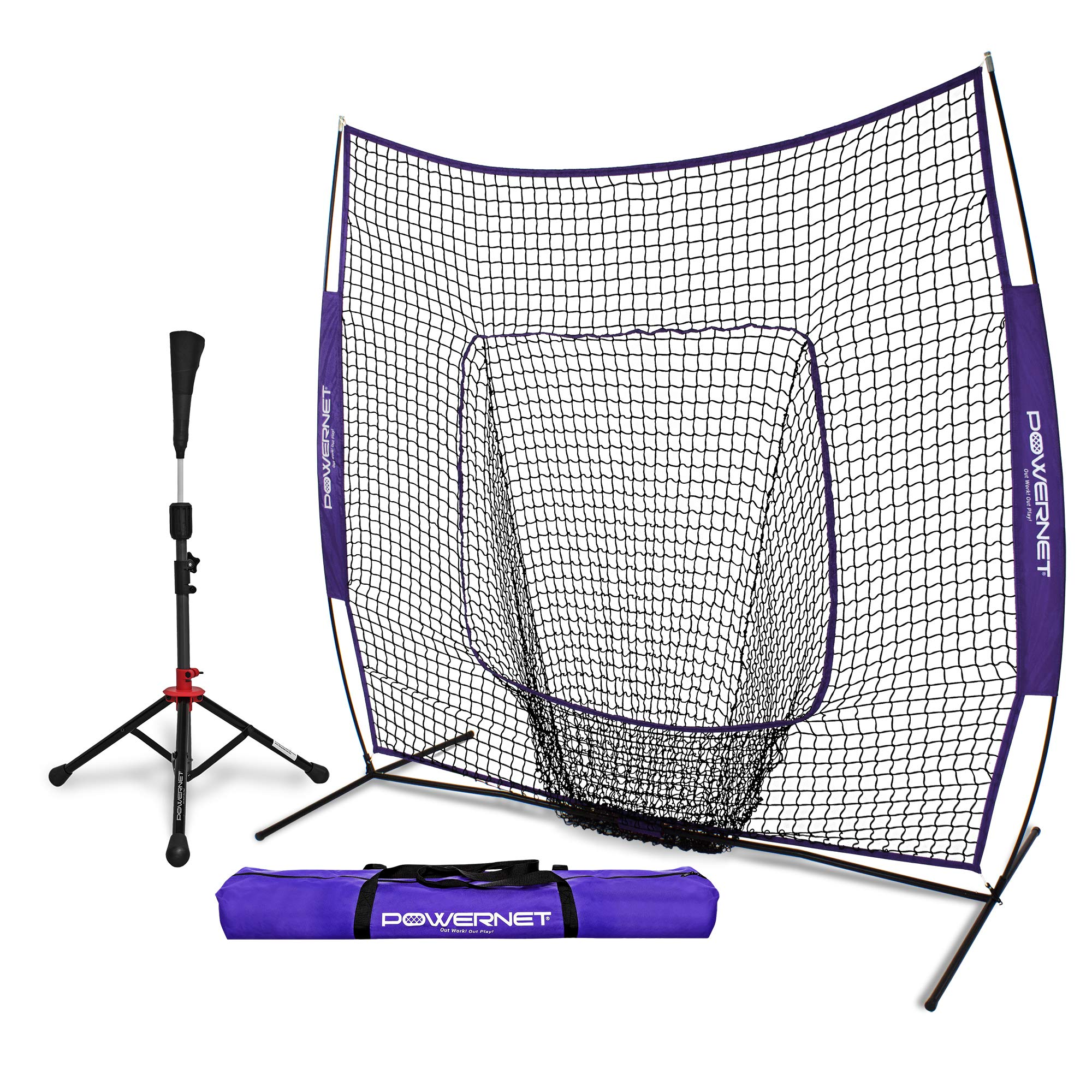 PowerNet Baseball Softball Practice Net 7x7 with Deluxe Tee (Purple) | Practice Hitting, Pitching, Batting, Fielding | Portable, Backstop, Training Aid, Lg Mouth, Bow frame | Training Equipment Bundle by PowerNet