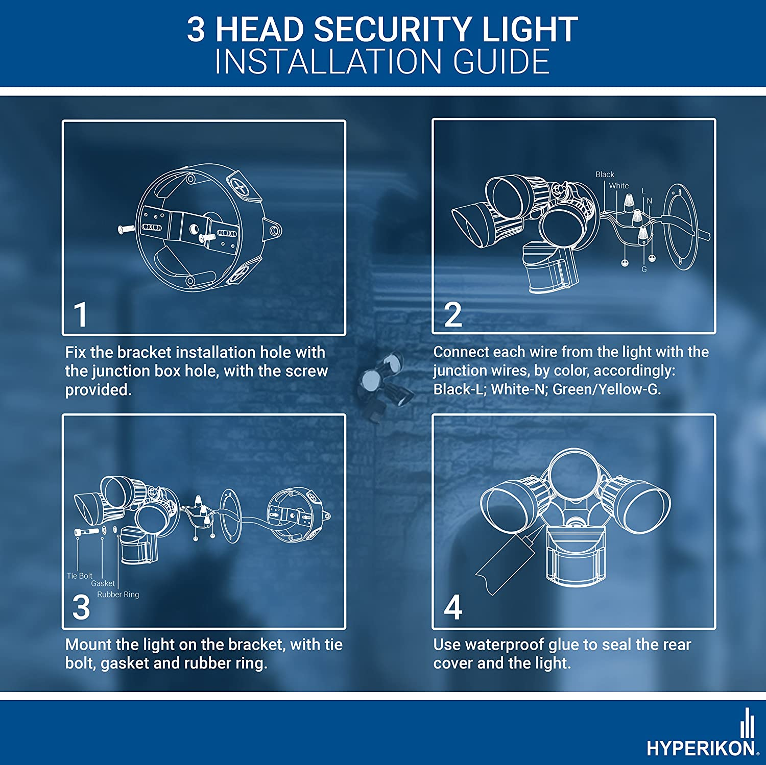 Hyperikon LED Adjustable Head Security Light - IP65 - PIR/Infrared ...