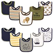 Hudson Baby Drooler Bib, 10 Pack, Lion and Octopus