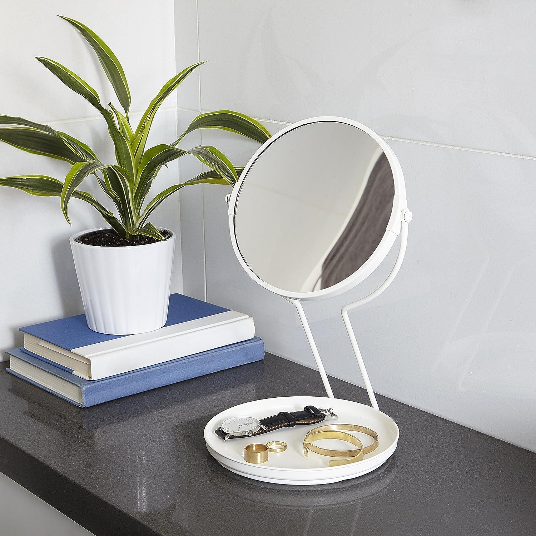 Wei/ß Umbra 1005281-660 See Me Countertop Mirror Doppelseitiger Tischspiegel mit 5fach-Vergr/ö/ßerung und Schmuckablage aus Metall