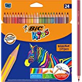 BIC Kids Evolution Stripes Lápices de colores - colores Surtidos, Blíster de 24 unidades