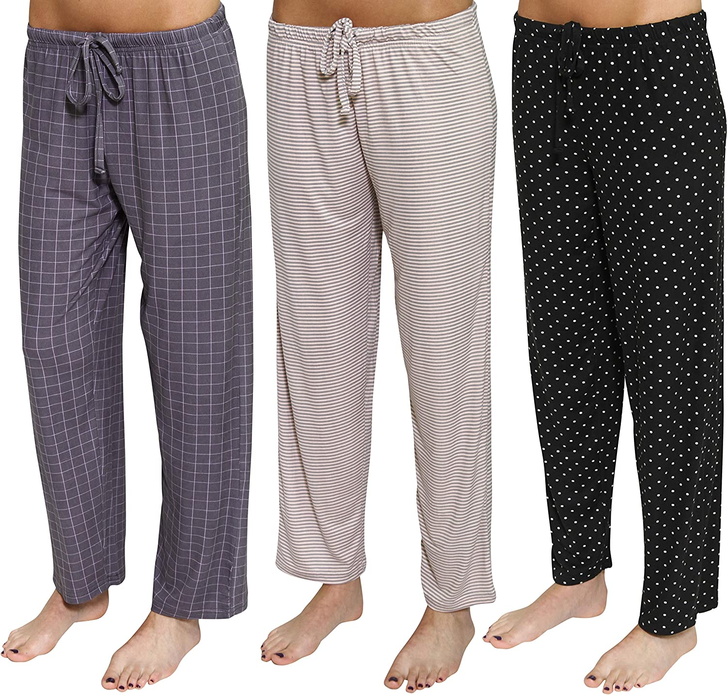 Real Essentials 3 Pack Women/'s Ultra-Soft Fleece Comfy Stretch Pajama//Lounge Pants Elegant Sleepwear