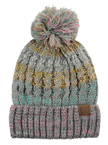 50876ef05f4 C.C Tribal Blend Pom Soft Fuzzy Lined Thick Knit Cuff Beanie Hat, Rose/Mint  at Amazon Women's Clothing store: