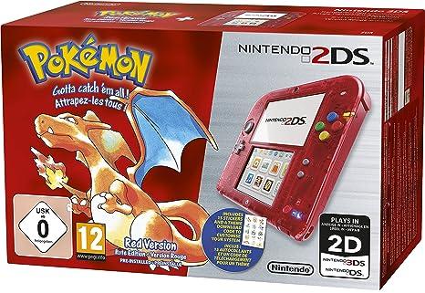 76a9adcc8fa Console Nintendo 2DS - transparente rouge + Pokémon rouge pré ...