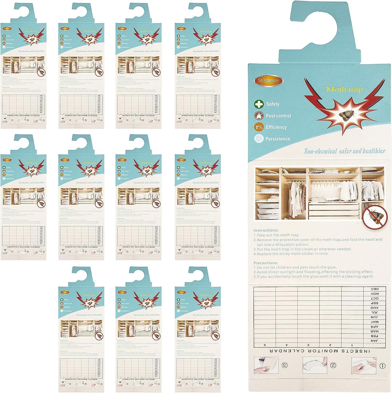 Stingmon 12 Piezas Trampa para polillas Ropa Trampa para polillas Trampa sin insecticidas Protección contra polillas de Primera Clase para el Armario