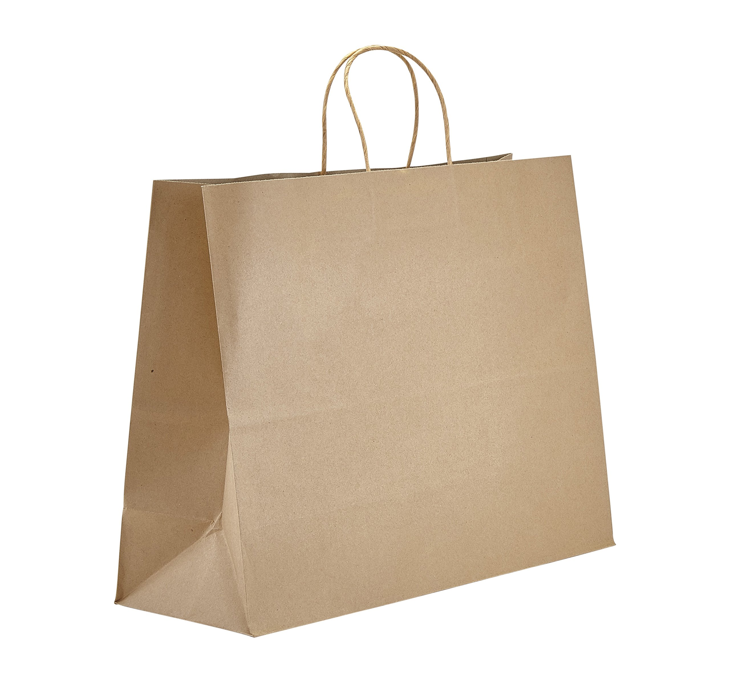 PTP - 16'' x 6'' x 12.5'' Natural Kraft Paper Gift Tote Bags - 250 Count| Perfect for Birthdays, Weddings, Holidays and All Occasions | White or Natural Colors | Multiple Sizes