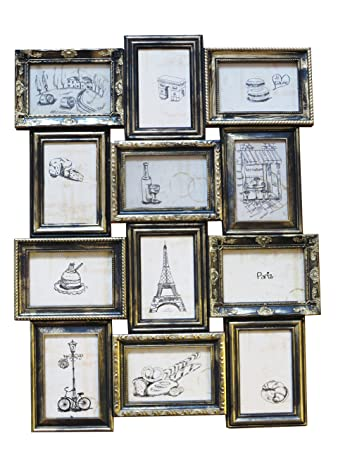 12 Opening 4x6 Black with Gold Paris Collage Frame