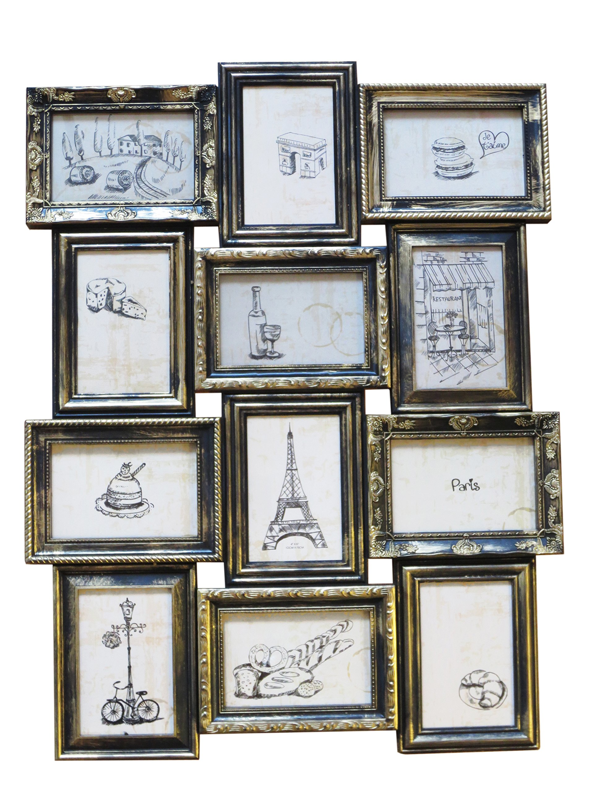 "Azzure Home ""Parisian"" 12 Openings Decorative Wall Hanging Collage Picture Frame - Made to Display Six 4x6 and Six 6x4 Photos, Black"
