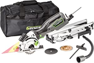 "Genesis GPCS535CK 5.8 Amp 3 1/2"" Control Grip Plunge Compact Circular Saw Kit with Laser, Miter Base, 3 Assorted Blades, Vacuum Adapter Hose, Rip Guide and Carrying Bag"