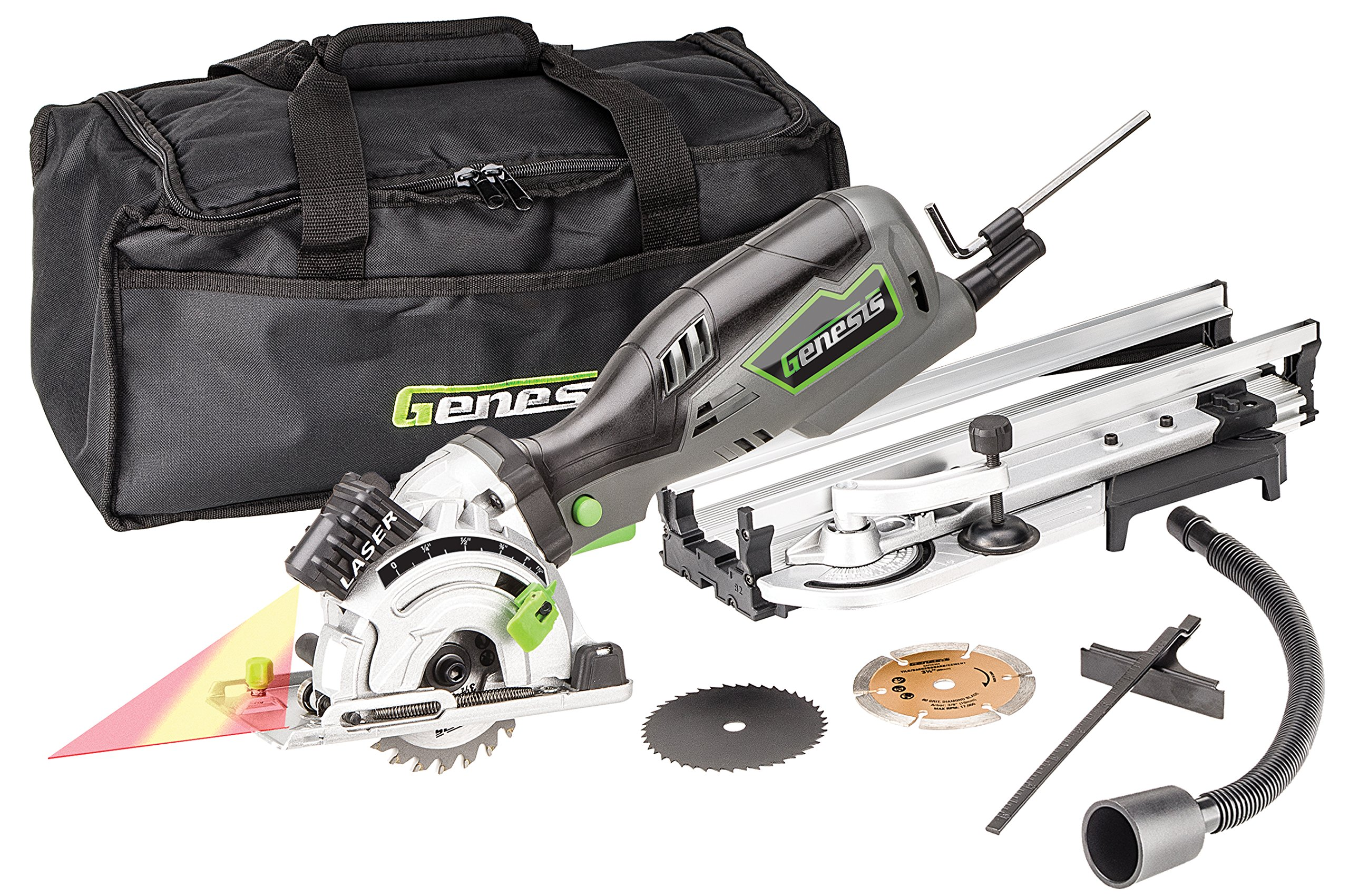 "Genesis GPCS535CK 5.8 Amp, 3-1/2"" Control Grip Plunge Compact Circular Saw Kit with Laser,  Miter Base, 3 assorted blades, Vacuum Adapter Hose, Rip Guide and Carrying bag"