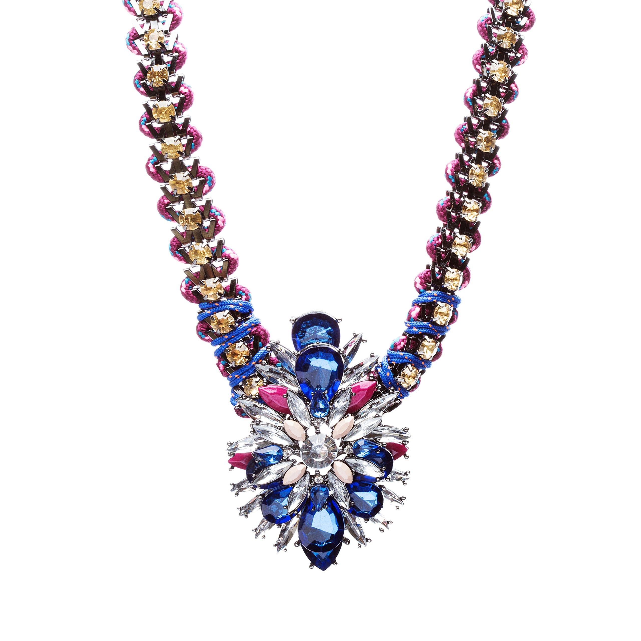Fashionably Daring Crystal Rhinestone Alluring Modern Design Necklace N80 Blue
