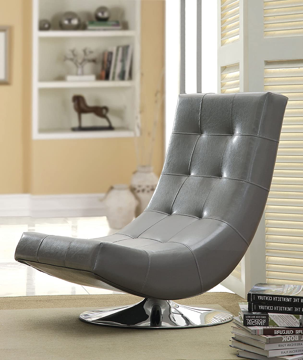 amazon com furniture of america dresden leatherette swivel armless