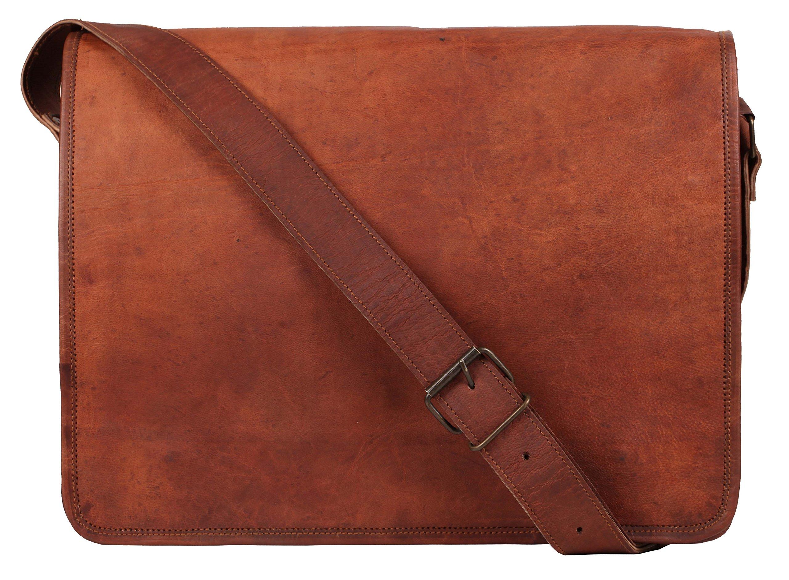 Rustic Town 15 inch Vintage Crossbody Genuine Leather Laptop Messenger Bag
