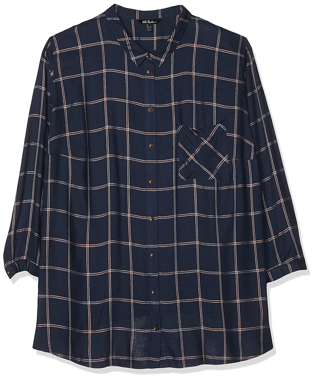 TALLA 52 (Talla del fabricante: 50). Ulla Popken Hemdbluse Mit Lurex-Karo Blusa para Mujer