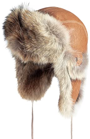 606f4463bbc Amazon.com  Leather Aviator Hat with Coyote Fur Trim  Clothing