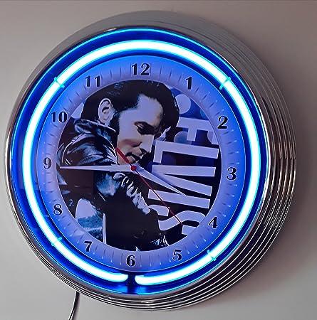 Amazonde Neonuhr Neon Clock Elvis Presley Wanduhr Beleuchtet Mit