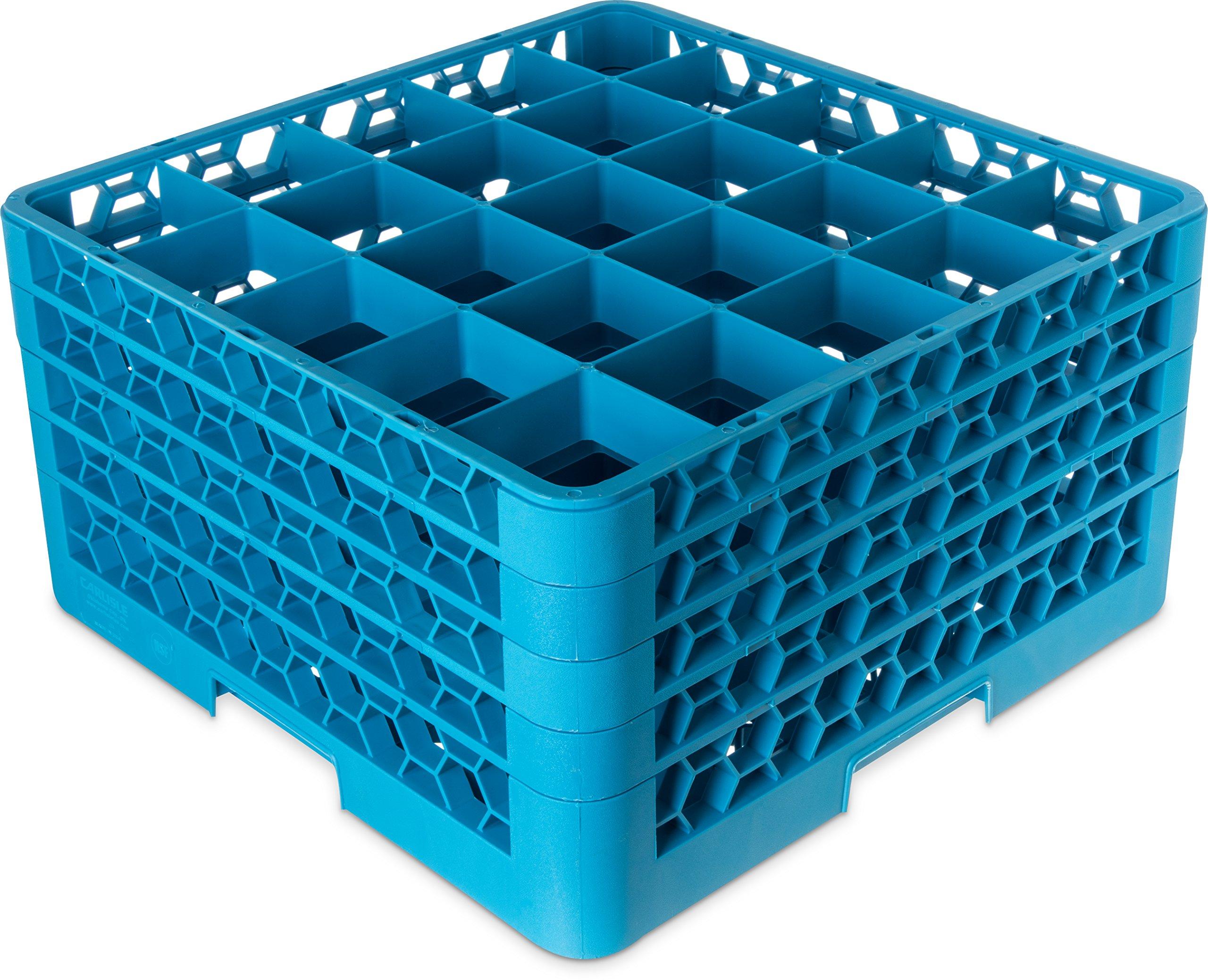 Carlisle RG9-314 OptiClean 9-Compartment Glass Rack w/ 3 Extenders, Polypropylene, 20.88'' Length, 20.88'' Width, 8.72'' Height, Blue