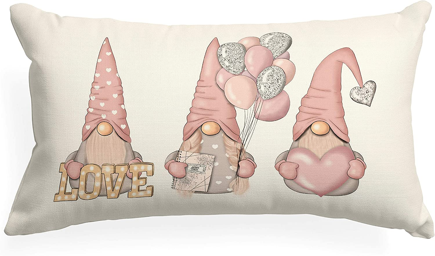 XUWELL Cute Pink Gnome Love Cotton Linen Throw Pillow Cover, Valentines Day Gnome Lover Gifts, Cushion Cover for Sofa Bed Home Decor 12 x 20 Inch