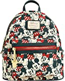 Loungefly Mickey Minnie Mouse Mini Backpack All Over Print Faux Leather