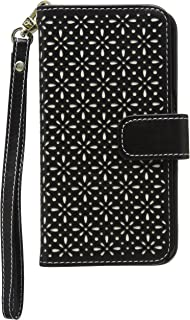 product image for Qubits Etched Floral Pattern Textured PU Leather Wallet Case with Card Slots Bill Compartment for Samsung Galaxy S6 Edge - Black