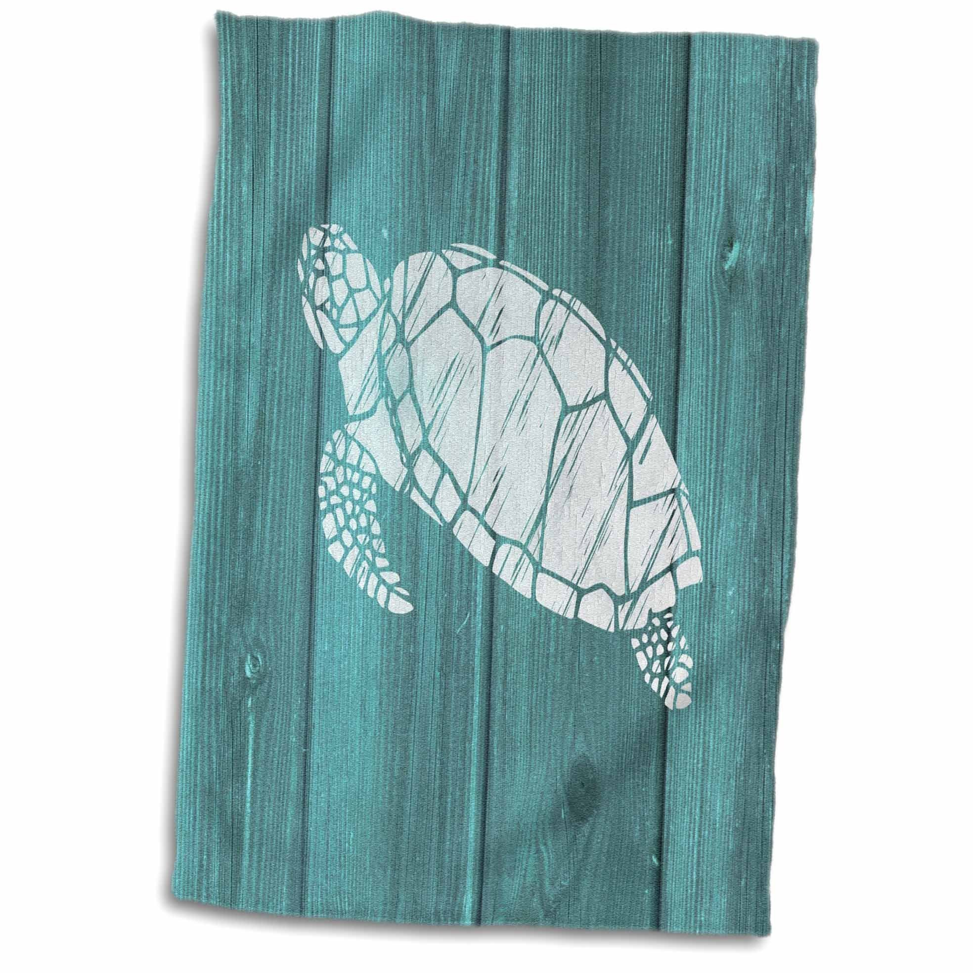 3D Rose Turtle Stencil in White Over Teal Weatherboard-Not Real Wood Hand Towel, 15'' x 22'', Multicolor