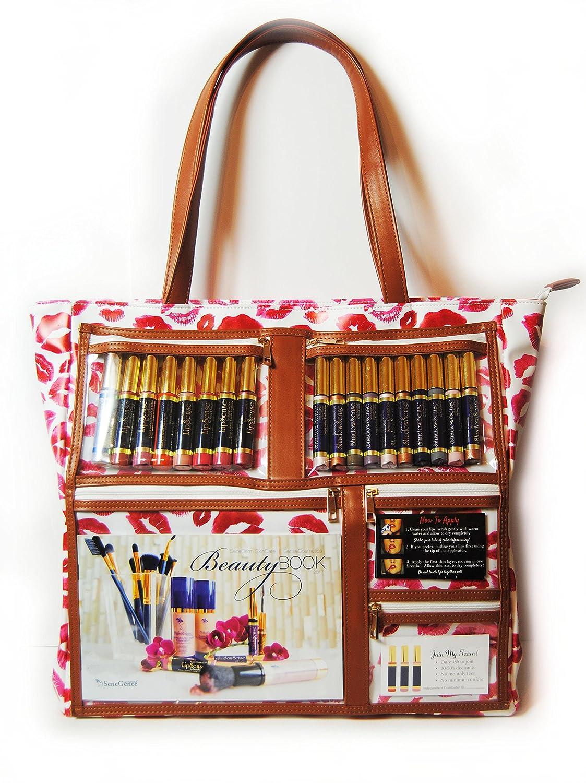 120c73df4c8 Amazon.com   WOW Bag for LipSense   Clear Pockets   Red Lip Print Pattern    Vegan Leather   Direct Sales Purse Window Pockets   Beauty