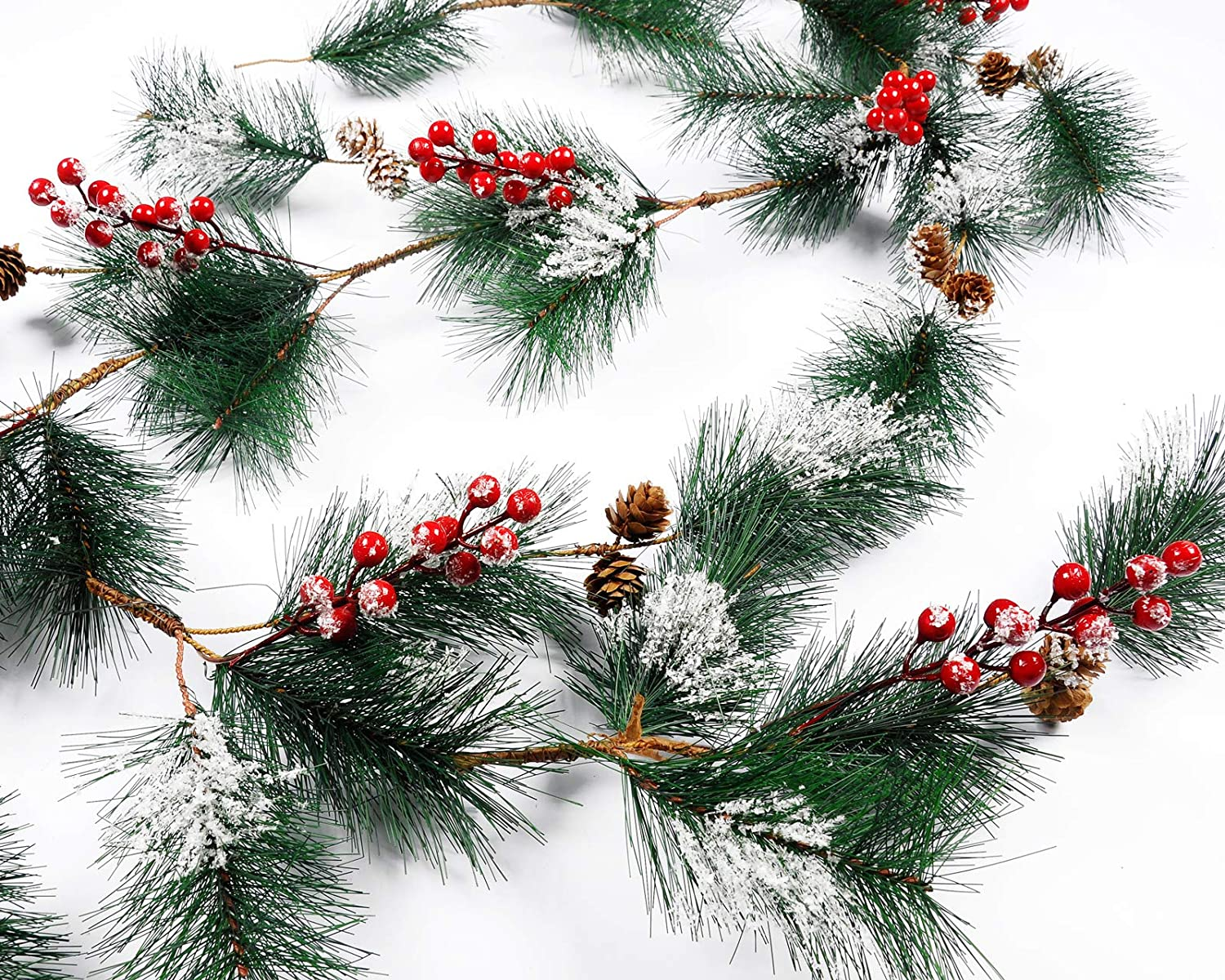 Meiliy Christmas Pinecone Garland 6.6ft Pine Needle Red Berry Wreath Hanging Vine Mantel Fireplace Table Centerpiecefor Indoor Outdoor Christmas Home Decor