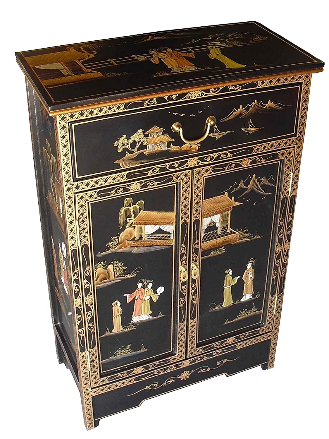 China warehouse direct oriental chinese furniture antique lacquer cabinet with drawer